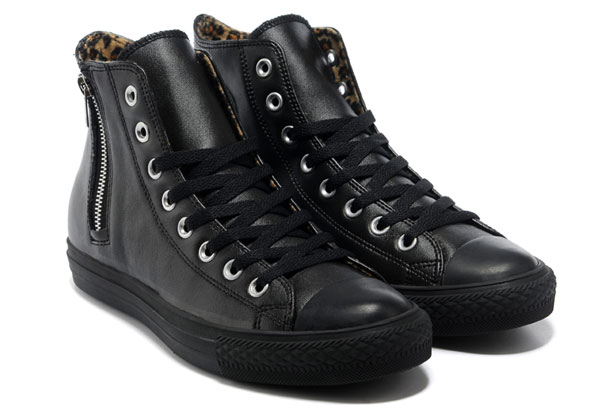 black leather converse high tops